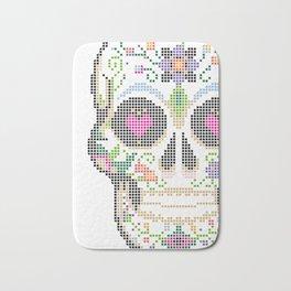Day of the Dead, Cinco de Mayo, Calavera, Dia de los Muertos - Sugar Skull - Candy Skull Make Up Fac Bath Mat