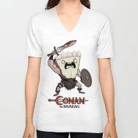 conan V-neck T-shirts featuring Conan The Bavarian by Bobby Baxter