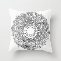 calendar Throw Pillows featuring Mayan Calendar by Mantis Galleries