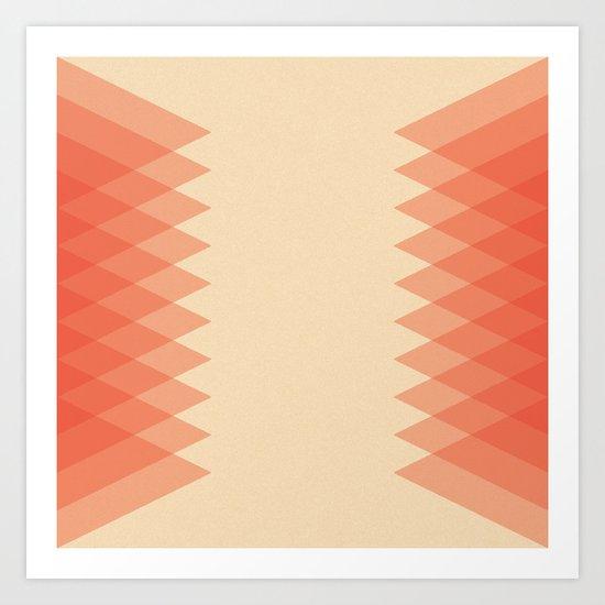 Red-Orange Triangles Art Print