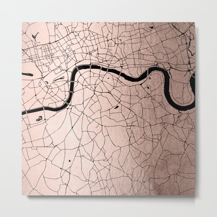 London Rosegold on Black Street Map Metal Print