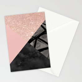 Modern pastel pink black strokes watercolor color block Stationery Cards
