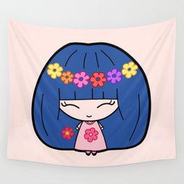 Cute Kawaii Girl With Blue Hair and Colorful Flowers Wall Tapestry
