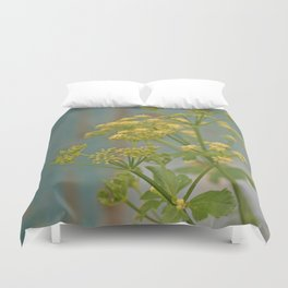 Yellow wildflowers on blue rusty metal Duvet Cover
