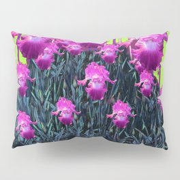 Decorative Chartreuse Fuchsia Purple Iris Garden Pattern Pillow Sham