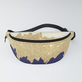 Navy blue ivory faux gold glitter brushstrokes Fanny Pack
