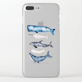 Watercolor orca whale, spermwhale, humpback, narwhal, beluga whales Clear iPhone Case