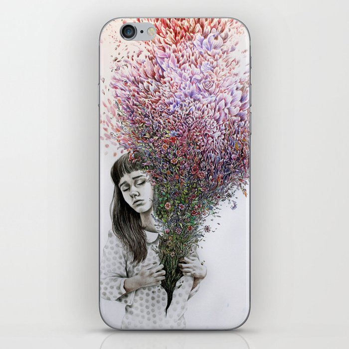 I tried to draw my soul but all I could think of was flowers iPhone Skin