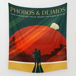 THE MOONS OF MARS - Phobos & Deimos | Space | X | Retro | Vintage | Futurism | Sci-Fi | Two Wall Tapestry