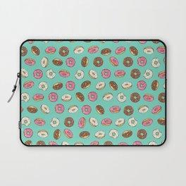 ALL the donuts! Rainbow on Aqua Laptop Sleeve