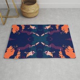 Abstract Dark Rorschach Style Pattern Rug
