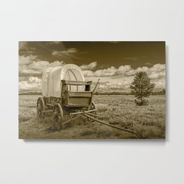 Sepia of Frontier Prairie Schooner Covered Wagon Metal Print