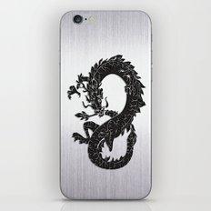 Black Oriental Dragon on Silver iPhone & iPod Skin