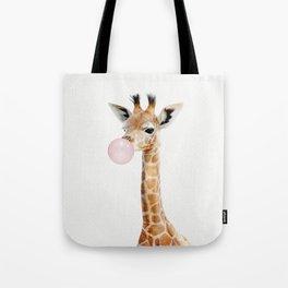 Bubble Gum Baby Giraffe Tote Bag