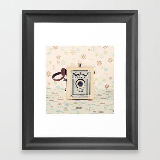 Retro Film Camera on Beige - Cream Pattern Background  Framed Art Print