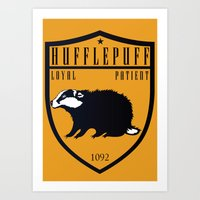 hufflepuff Art Prints featuring Hufflepuff Crest by machmigo