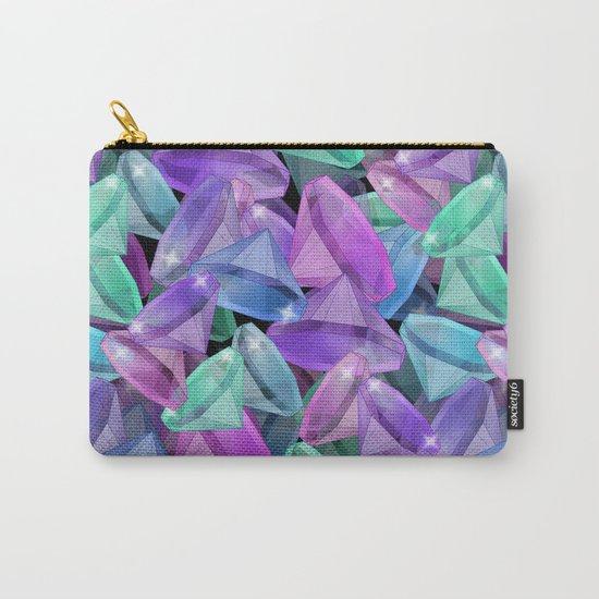 Placer precious stones Black background . Diamonds . Carry-All Pouch