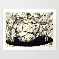 fat Art Prints featuring FATTY FAT FAT by Johnny B. Pimp