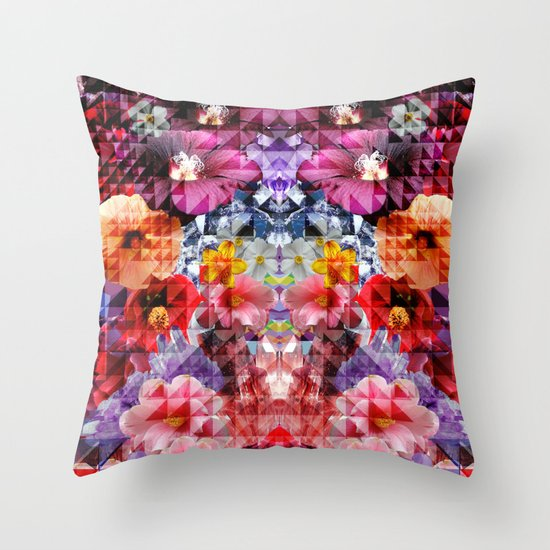Crystal Floral Throw Pillow