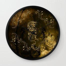 Wonderful golden chinese dragon Wall Clock