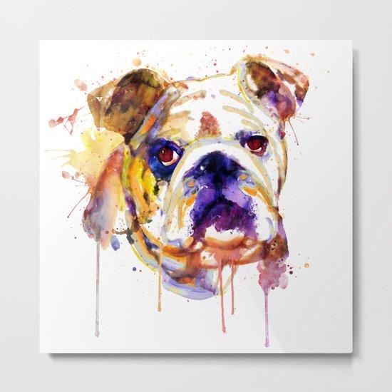 English Bulldog Head Metal Print