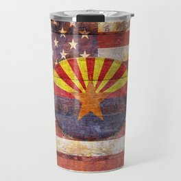 Arizona and USA flag on old wooden planks. Travel Mug
