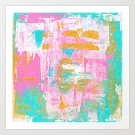 Abstract Acrylic - Turquoise, Pink & Gold Art Print
