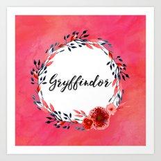 HP Gryffindor in Watercolor Art Print