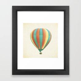 Hot Air Balloon Photography, Orange Green Yellow Colorful Nursery Photo Framed Art Print