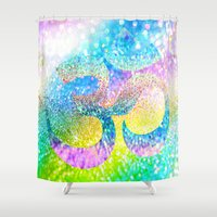 ohm Shower Curtains featuring ohm sparkle by haroulita