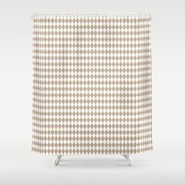 Pantone Hazelnut Rippled Diamonds, Harlequin, Classic Rhombus Pattern Shower Curtain