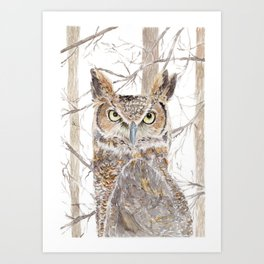 """Watercolor Painting of Picture """"Owl in the Forest"""" Art Print"""