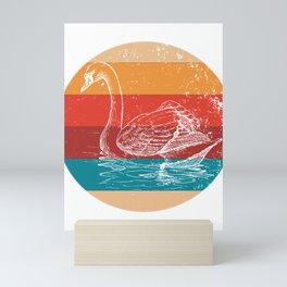 Vintage Swan Lover Retro Silhouette Style Gift Mini Art Print