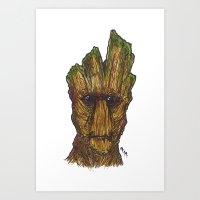 groot Art Prints featuring Groot by AgrovatedArt