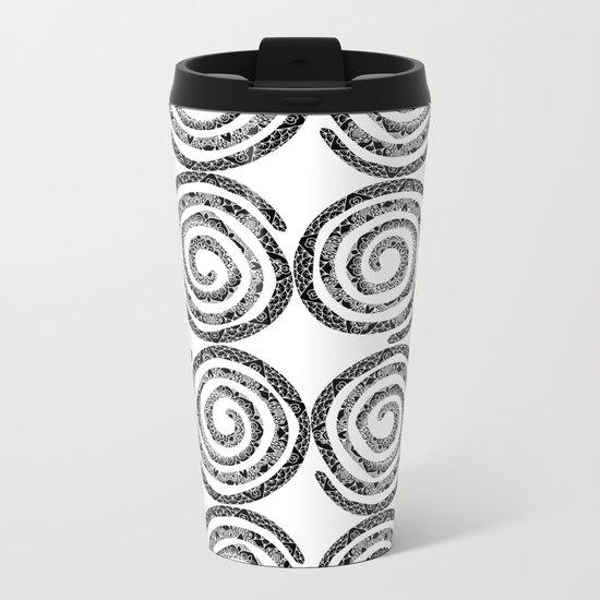 Black & White Patterned Spirals Metal Travel Mug