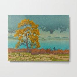 Vintage Japanese Woodblock Print Autumn Japanese Landscape Field Tall Tree Metal Print