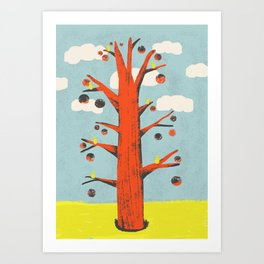 Red Tree, Yellow Birds Art Print