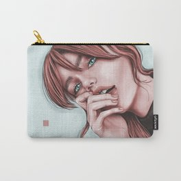 Red hair and blue eyes. Digital portrair. Giner hair Carry-All Pouch