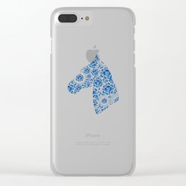 Silhouette of a beautiful horse's head with blue flowers Clear iPhone Case