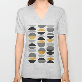 Modern pattern with gold IV Unisex V-Neck