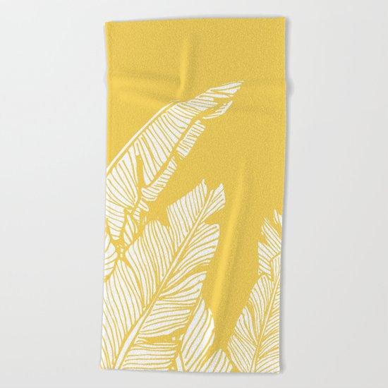 Banana Leaves on Yellow #society6 #decor #buyart Beach Towel