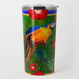 GREY RED HIBISCUS GOLD MACAW JUNGLE ART Travel Mug