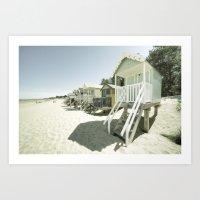 bleach Art Prints featuring Bleach Huts  by Rob Hawkins Photography