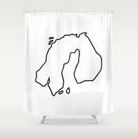 europe Shower Curtains featuring nothern europe by Lineamentum