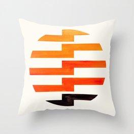 Minimalist Mid Century Circle Frame Orange Zig Zag Colorful Lightning Bolt Geometric Pattern Throw Pillow