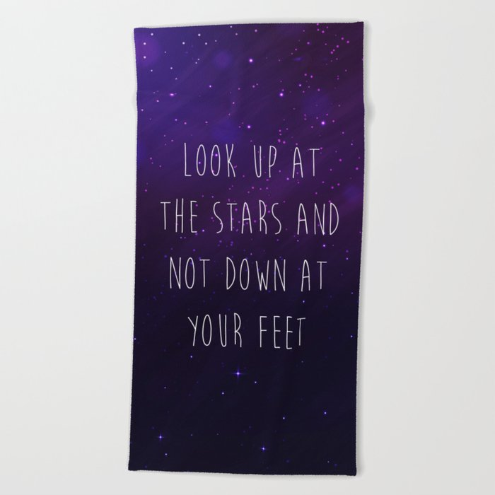 Look Up At The Stars Motivational Quote Beach Towel