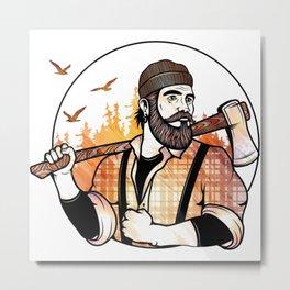 Autumn Hipster Lumberjack Metal Print