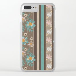 Retro . Turquoise and brown floral pattern . Clear iPhone Case