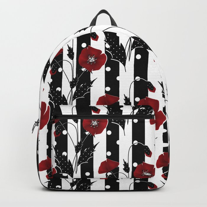 Retro. Red poppies on a black and white striped background. Backpack