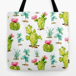 Green Cactus Watercolor Tote Bag